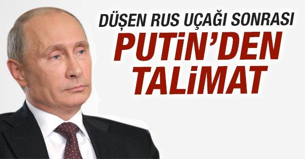 Düşen Rus uçağı sonrası Putin'den talimat