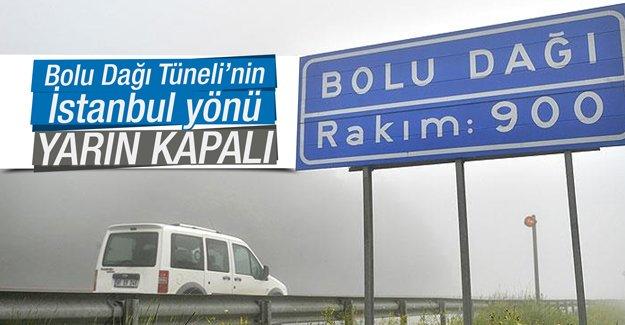 Bolu Dağı Tüneli'nin İstanbul yönü yarın kapalı