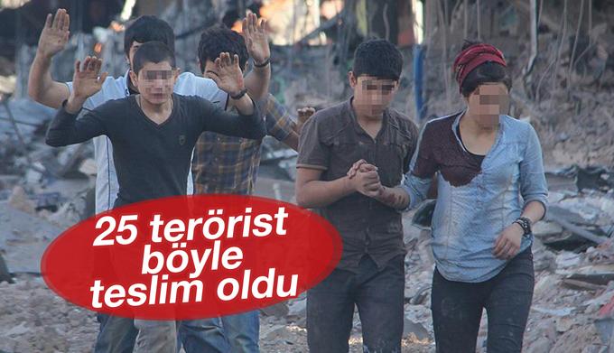 Teslim olan 25 teröristin görüntüleri paylaşıldı