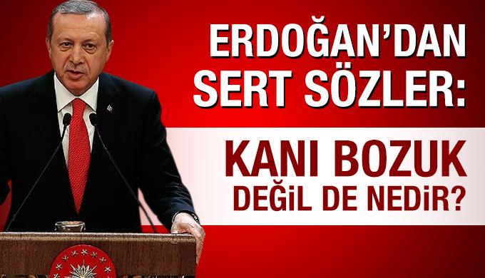 Erdoğan'dan sert sözler: Kanı bozuk değil de nedir?