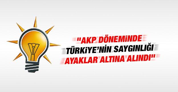 """""""AKP döneminde Türkiye'nin saygınlığı ayaklar altına alındı"""""""